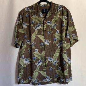 Caribbean Joe Men's 100% Silk Hawaiian Shirt Sz L